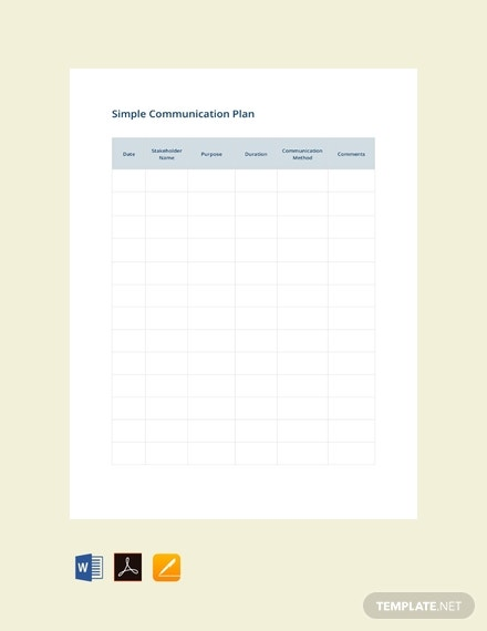 free simple communication plan template 440x570 1