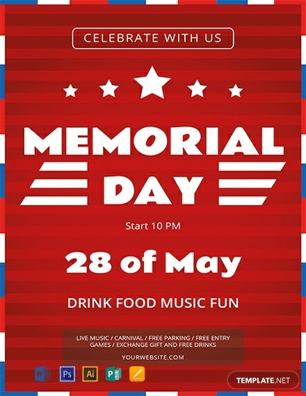 free simple memorial day flyer template 440x570 1