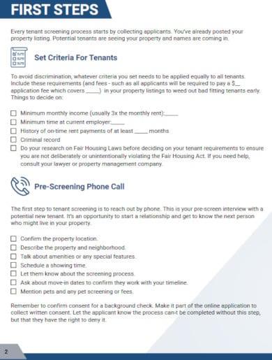 free tenant screening checklist template