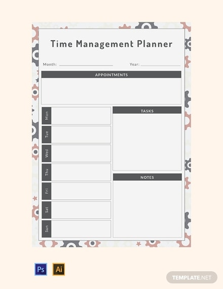 free time management planner template 440x570 11
