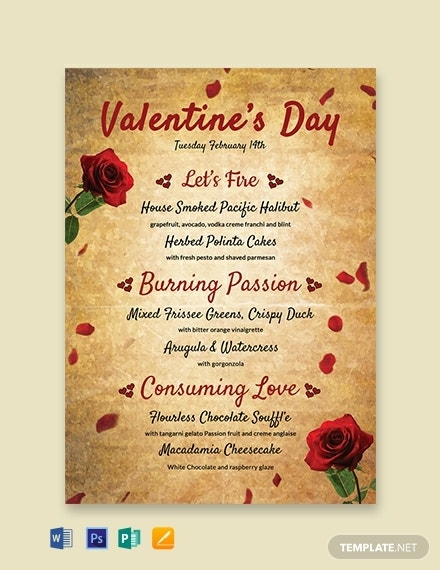 free valentines day menu template