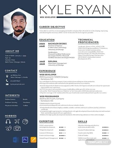 free web developer resume template 440x570 1