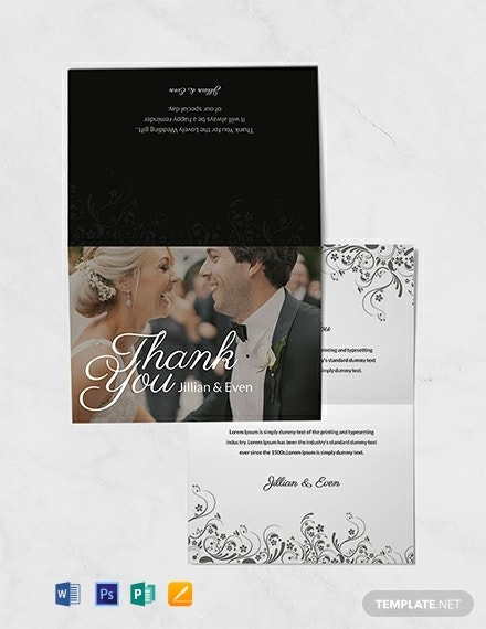 free wedding thank you note card template