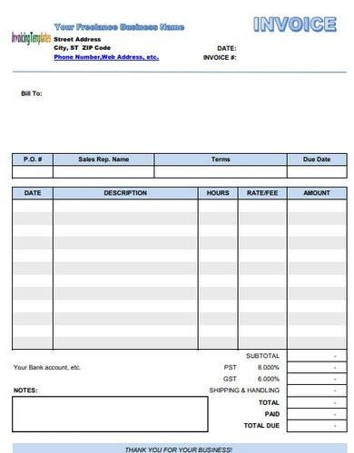 freelance self employed invoice template
