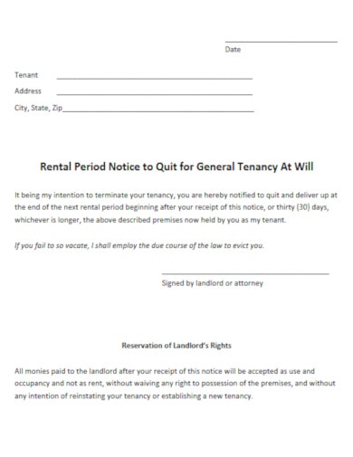 functional tenancy ending notice