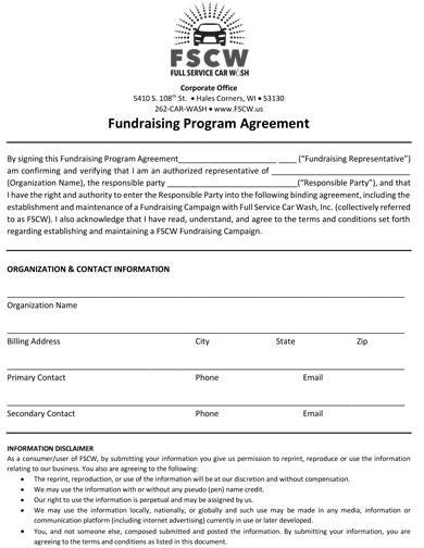 fundraising program agreement format