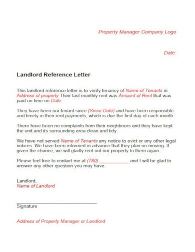 general landlord tenant reference letter template