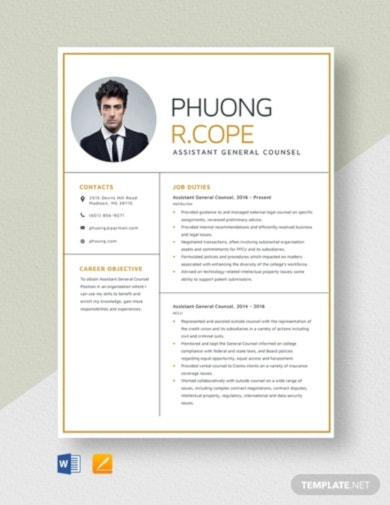 general legal counsel resume template