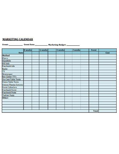 general marketing calendar