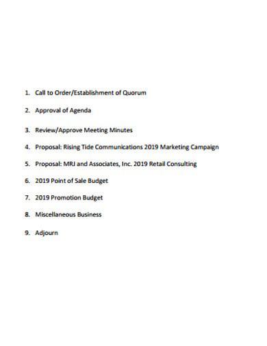 general marketing meeting agenda