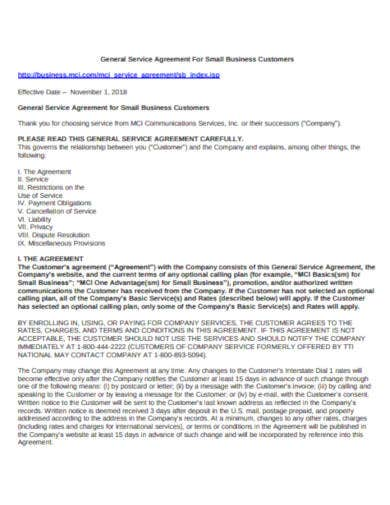 general service agreement for small business
