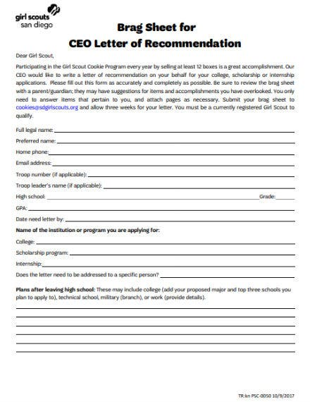 girl scout ceo recommendation letter template
