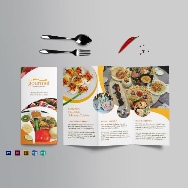 gourmet catering restaurant brochure layout