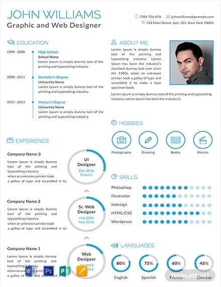 graphic and web designer infographic resume