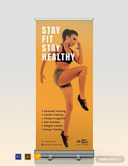 gym marketing roll up banner format