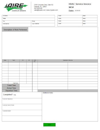 hvac service invoice