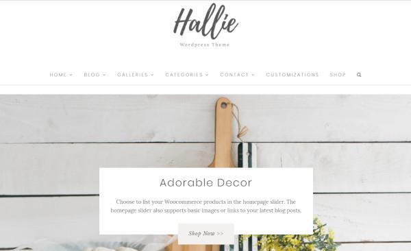 hallie one click demo import wordpress theme