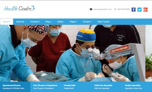 health centre seo friendly wordpress theme