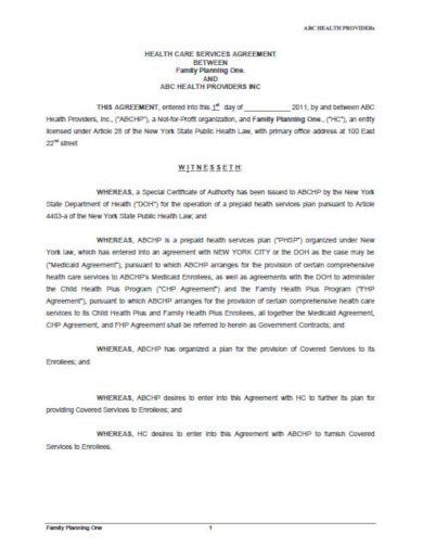 healthcare services agreement template
