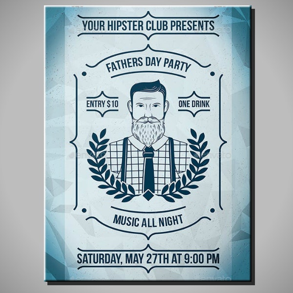 Hipster Father's Day Poster Example