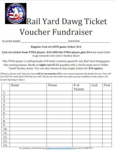 hockey ticket voucher fundraising template