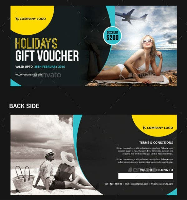 holiday travel gift voucher template