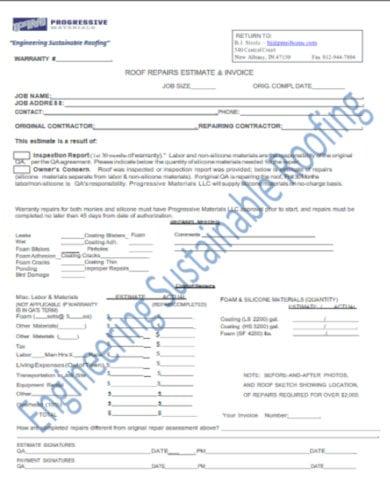 home repair estimate and invoice template