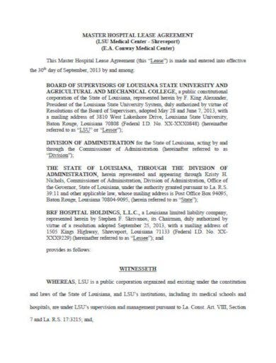 hospital lease agreement template