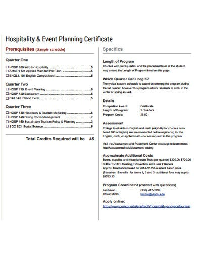 hospitality event planning certificate
