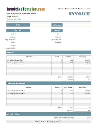 hourly self employed invoice template