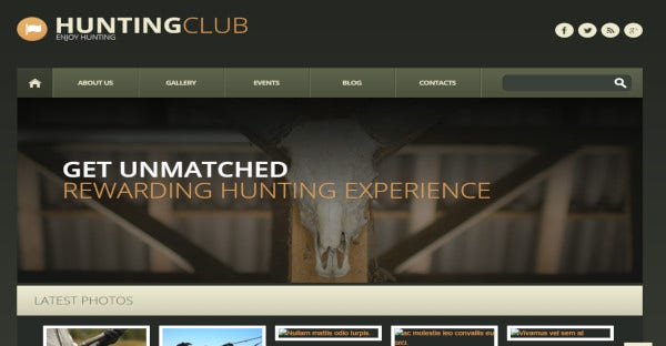 hunting club – typography supported wordpress theme1