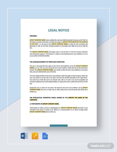 impactful legal notice template