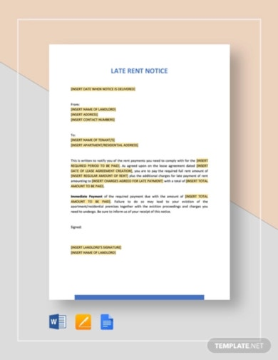 instant downloadable late rent notice template