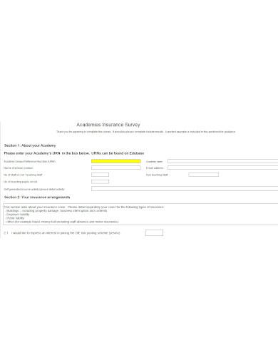 insurance survey template in xls