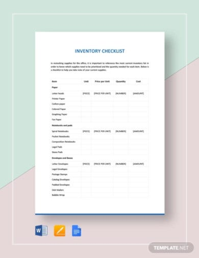 inventory-checklist-template