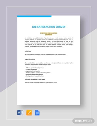 job satisfaction survey template