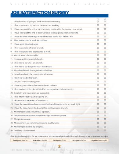 job satisfaction survey templates
