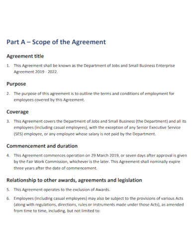 jobs and small business enterprise agreement