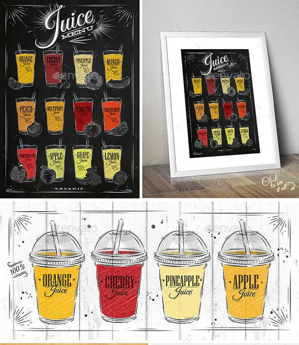 juice menu poster template