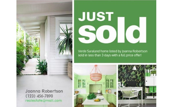 just sold real estate postcard