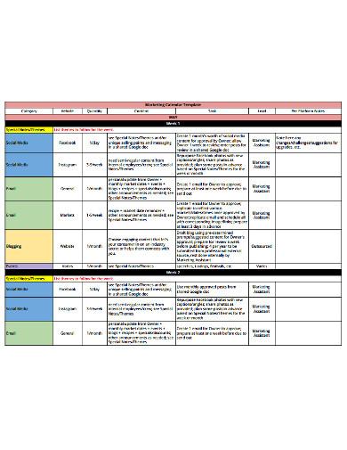 kitchen marketing calendar template