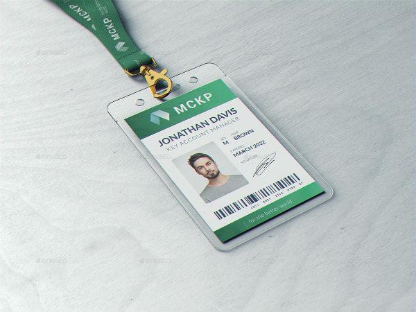 lanyard id card holder mockup