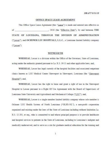 lease initial agreement template