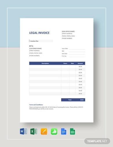 legal invoice template sample