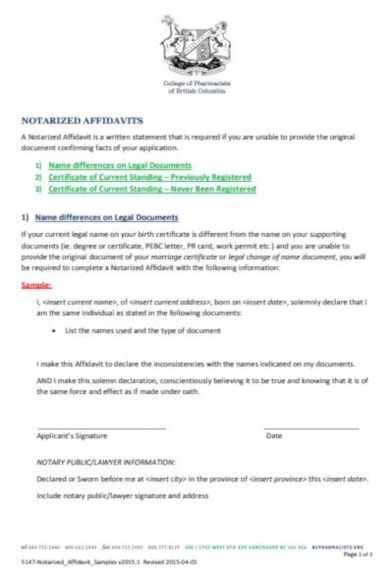 legal statement examples