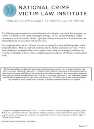 legal victim impact statement example