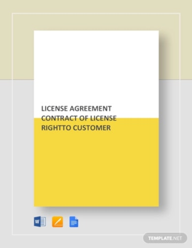 license agreement contract of license right to customer