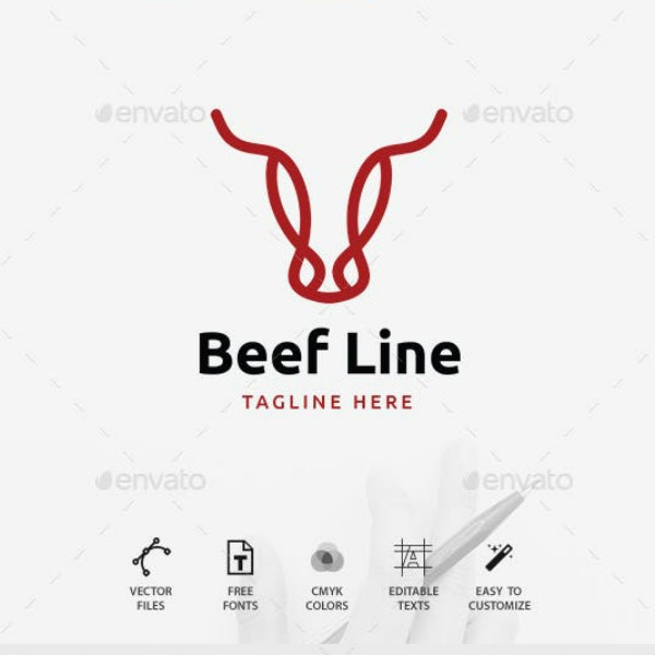 line symbol restaurant logo design