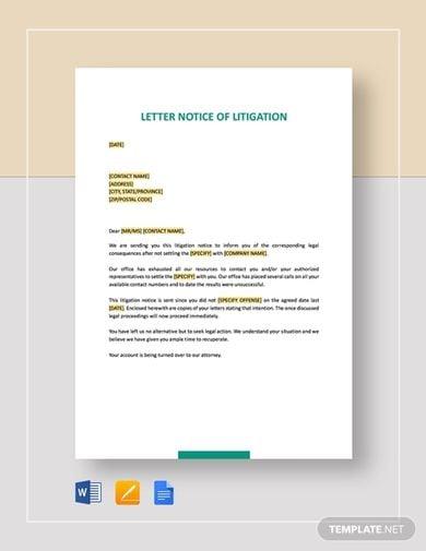 litigation legal notice template