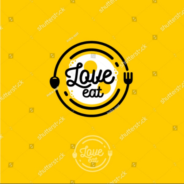 love eat restaurant logo template
